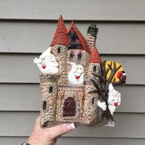 Vintage ceramic haunted house wall hanging